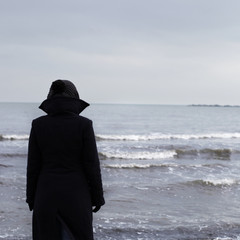 Lonely person on a beach