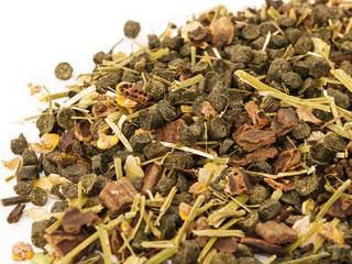 Diet muesli  with herbs background for horse.