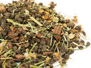 heap of diet muesli  with herbs for horse.
