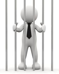 omino bianco in prigione