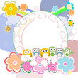 birthday party elements with cute owls and birds, love hearts