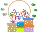 birthday party elements with cute owls and birds