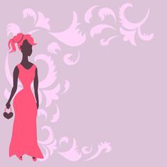 Frau im Kleid und Ornamente