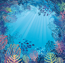 Underwater in daylight. Illustration of sea plants and fish