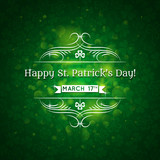 Card for St. Patrick's Day with text and many shamrocks