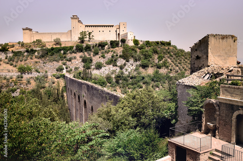 The Albornoz Fortress and the Towers Bridge, Spoleto, Umbria