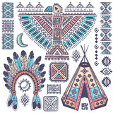 Vintage set of native American  symbols