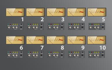 music control board, VU meter, fully editable vector