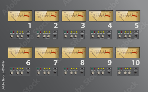 music control board, VU meter, fully editable vector