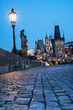 Prague, night view over Charles Bridge