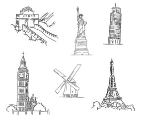 Set of famous world landmarks