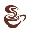 Hot cup of coffee with swirling steam