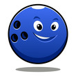 Happy colourful blue cartoon bowling ball