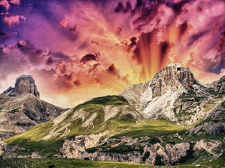 Summer colors of Dolomites - Italian mountain landscape