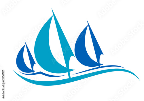 Stylized blue sailing boats upon the waves