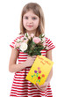 Beautiful little girl holding bouquet and card isolated on