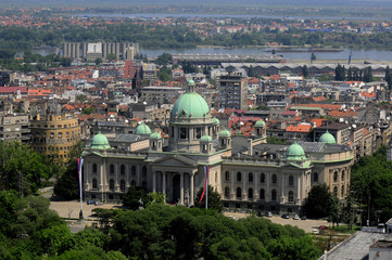 Aerial view of Belgrade, Serbia