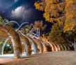 Garden boardwalk along Southbank in Brisbane at night, Australia