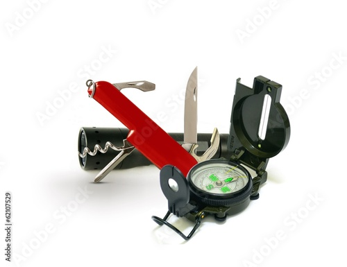 Survival Tools with Pocket Knife and Compass