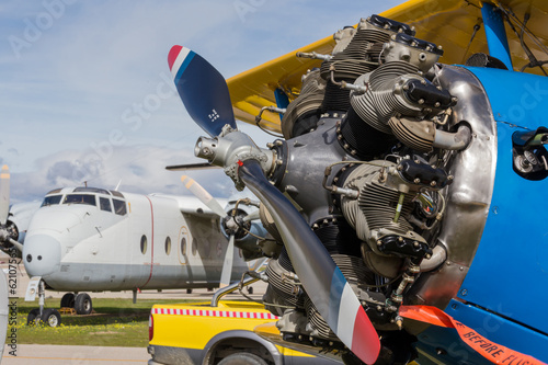 old aircraft engine and propeller