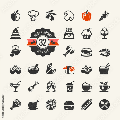 Food and drinks web icon set