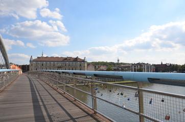 Le pont Kladka bernatka, la Vistule, Cracovie