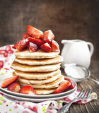 Stack of pancakes with fresh strawberry