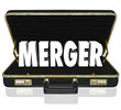 Merger Word Business Briefcase Combine Companies Offer Proposal