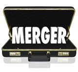 Merger Word Business Briefcase Combine Companies Offer Proposal poster