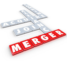 Merger Tile Words Acquire Join Alliance Combine Companies