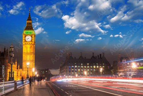canvas print picture Beautiful colors of Big Ben from Westminster Bridge at Dusk - Lo