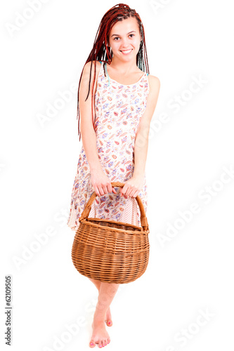 beautiful teen shopping girl, white background