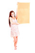 beautiful teen girl whit cokr board, white background