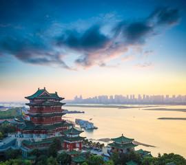 beautiful nanchang tengwang pavilion at dusk