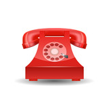 Red Phone with Rotary Dial isolated. Vector