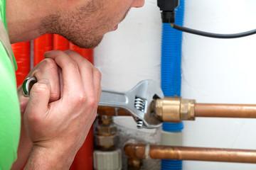 Hard working plumber