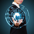 Business woman showing globe and icon application on virtual scr