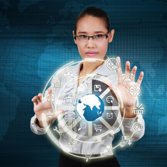 Business woman touching the globe and icon application on virtua