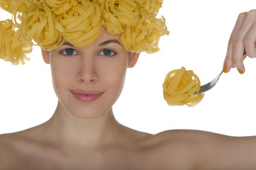 woman with spaghetti on the head and plug