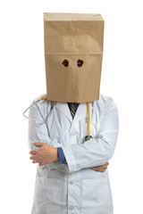Doctor Wearing Paper Bag Over Head