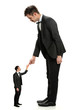 Giant Businessman Shaking Hands With Small Man