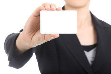Business women holding name card