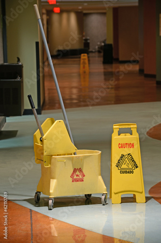 Mop With Caution Sign