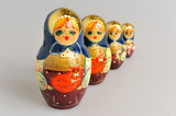 Russian matryoshka on gray