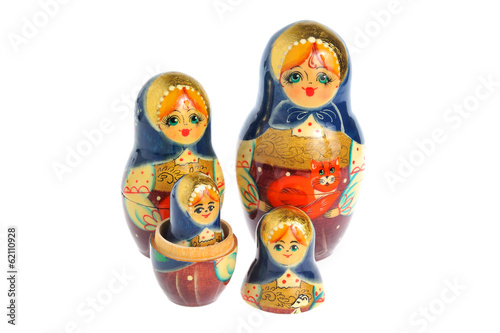 Russian nested matryoshka isolated on white