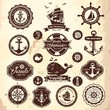Collection of vintage retro nautical labels, badges and icons - 62111129