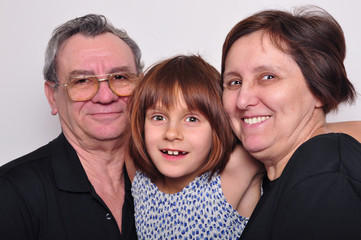 portrait of a grandchild with grandparents