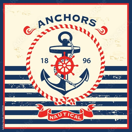 Vintage nautical template design - 62111128