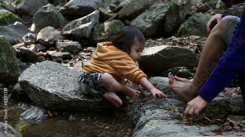 Baby Toddler Mother Daughter at the creek