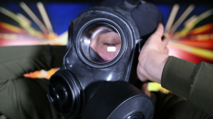 a person wearing a gas mask